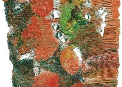 "Impacture - 21""x19"" Handmade Paper with Watermedia"